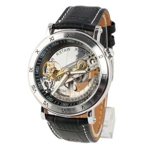 YESURPRISE Automatikuhr Automatik Armbanduhr Skelett mechanische Uhr Leder schwarz silber