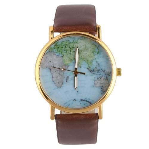 YESURPRISE Modisch Welt Landkarte Schwarz Gold Leder Analog Damen Armbanduhr Uhr Watch Geschenk Gift reloj de pulsera montre de P1