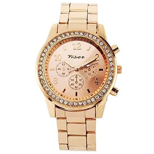 YESURPRISE Uhr rosa golde Elegante Damen Herren Uhr Legierung Armbanduhr Damenuhr Herrenuhr mit Strass Watches