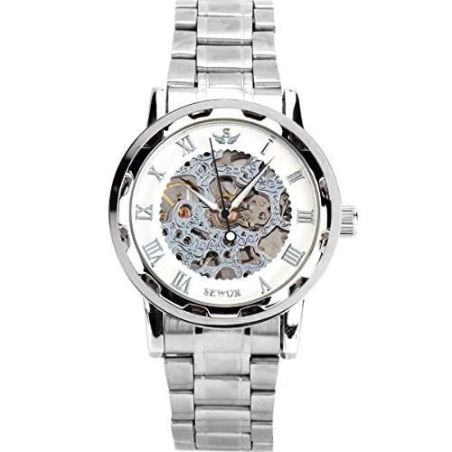YESURPRISE Uhr Handaufzug Mechanisch Uhr Herren Damen Edelstahl Armbanduhr Skelettuhr Watch Geschenk Gift