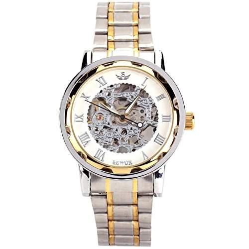 YESURPRISE Uhr Handaufzug Mechanische Uhr Edelstahl Armbanduhr Skelettuhr silber gold weiss