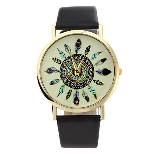 YESURPRISE Uhr Pfauenfedern Armbanduhr PU Leder Damen Uhr PU Leather Feather Watch For Women Dress Watch Quartz Watch