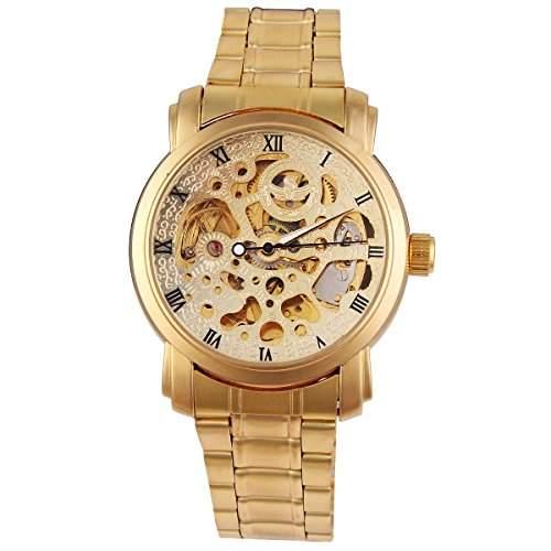 YESURPRISE Automatikuhr Mechanisch Uhr Herrenuhr Armbanduhr Edelstahl Watch Geschenk Gift gold