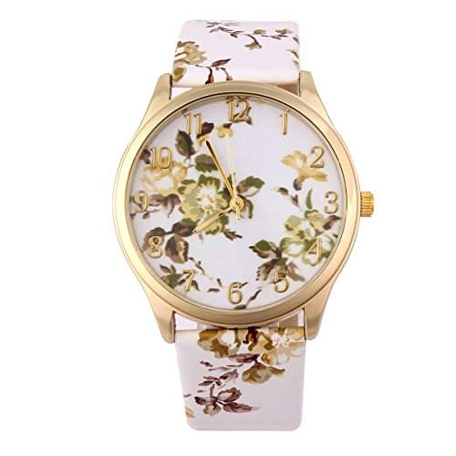 YESURPRISE Uhr Vintage Blumen Retro Blume Damen Armbanduhr Basel-Stil Quarzuhr Lederarmband Uhr Geschenk Watch Gift