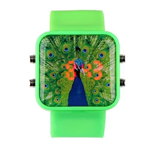 YESURPRISE Herrenuhr Unisex Kinder Armbanduhr Sport Digital Uhr mit Pfau Herren Uhr Xmas Geschenk Watch Gift