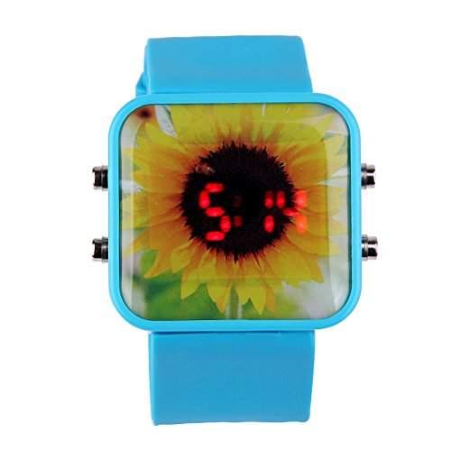 YESURPRISE Herrenuhr Unisex Kinder Armbanduhr Sport Digital Uhr mit Chrysantheme Herren Uhr Xmas Geschenk Watch Gift