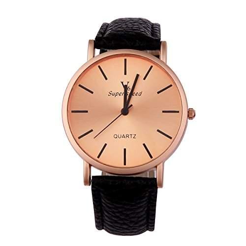 YESURPRISE Uhr Elegante Armbanduhr PU Leder Quarzuhr Damen Herren Uhr Watch Geschenk Watch Gift montre de poche D4