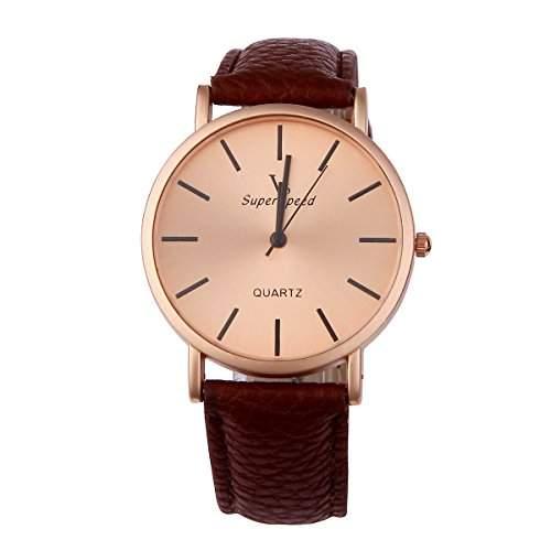 YESURPRISE Uhr Elegante Armbanduhr PU Leder Quarzuhr Damen Herren Uhr Watch Geschenk Watch Gift montre de poche D5
