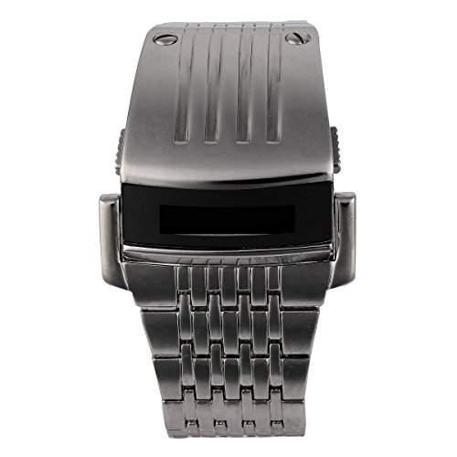 YESURPRISE Cool Herrenuhr LED Uhr Digitaluhr Edelstahl Armbanduhr Silber Watch