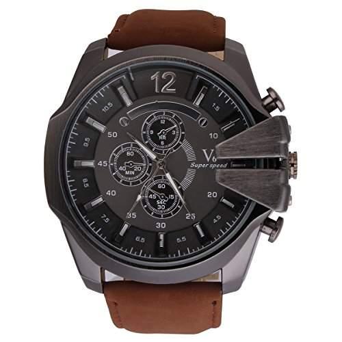YESURPRISE PU Uhr Herrenuhr Armbanduhr Quarzuhr Sport V6 Uhr Xmas Geschenk Watch Gift #3