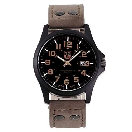 YESURPRISE Uhr Retro Armbanduhr Damen Uhr Herrenuhren wasserdicht Quarzwerk Uhr PU Leder Geschenk Gift Watch braun