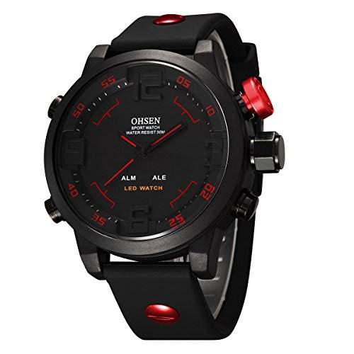 YESURPRISE Digital Uhr Sportuhr LED Dual Quarzuhr Silikon Armband Herren Uhr Stoppuhr Multi-funktion