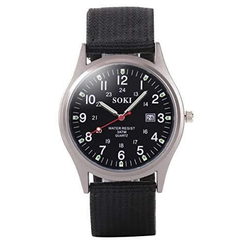 YESURPRISE Armbanduhr Damen Herrenuhr Leuchtzeiger Armband Uhr Sportuhr mit Datum Leinwand Watch Geschenk #1