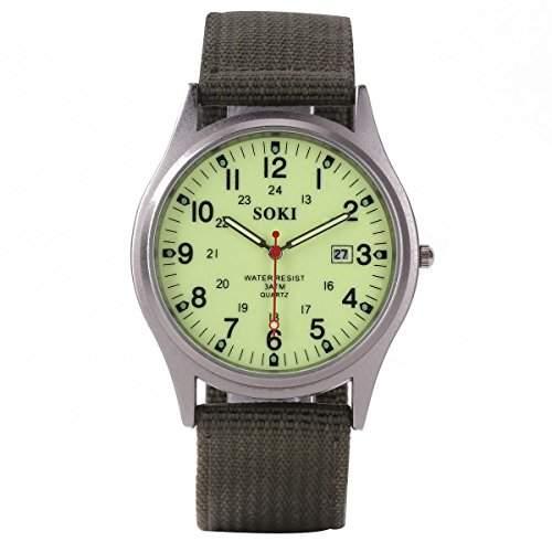 YESURPRISE Armbanduhr Damen Herrenuhr Leuchtzeiger Armband Uhr Sportuhr mit Datum Leinwand Watch Geschenk #4