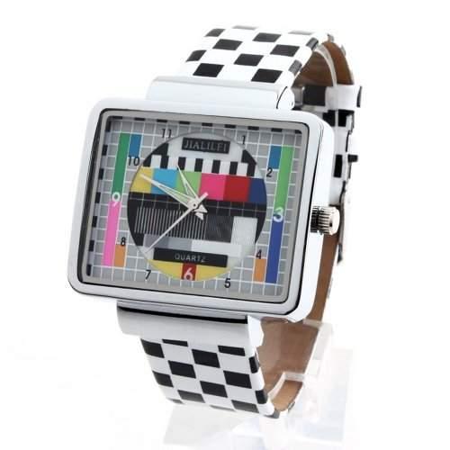 YESURPRISE Fernsehen TV Stil Leder Armbanduhr Quarz Damen Herren Uhr Herrenuhr Geschenk Xmas Gift watch