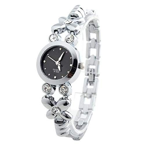 YESURPRISE Uhr Elegant Legierung Armbanduhr Quarz Damen Uhr Damenuhr mit Strass schwarz Analog Geschenk Xmas Gift watch