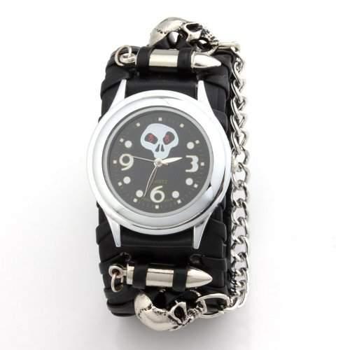 YESURPRISE Uhr Rock Punk Skull schwarz Leder Quarz Herrenuhr Armbanduhr mit kette Geschenk Xmas Gift watch