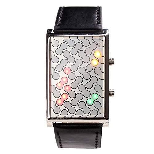 Yesurprise Bunte LED Licht Digital Herren Uhr Armbanduhr Leder Armband Uhr Watch Geschenk