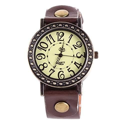 YESURPRISE Mode Herren Damenuhr Mode Armbanduhr Quarz Uhr Leder Fashion Watch Gift Geschenk 6118-6