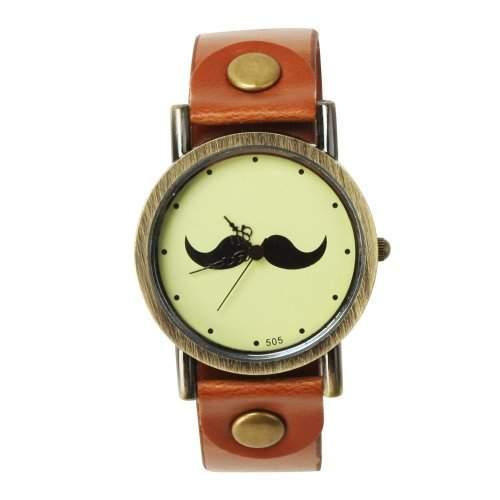 YESURPRISE Mustache Schnurrbart Armbanduhr Uhr Trend Blogger Retro Vintage Watch Geschenk Gift 04