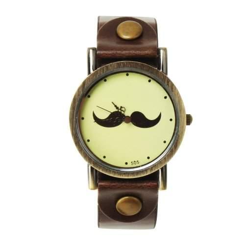 YESURPRISE Mustache Schnurrbart Armbanduhr Uhr Trend Blogger Retro Vintage Watch Geschenk Gift 05