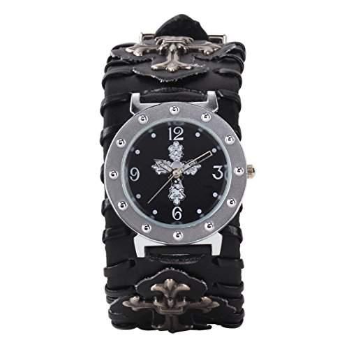 YESURPRISE PUNK Gothic Leder Unisex Armbanduhr Quarz Quarz Wrist Watch Uhr Geschenk Gift B120