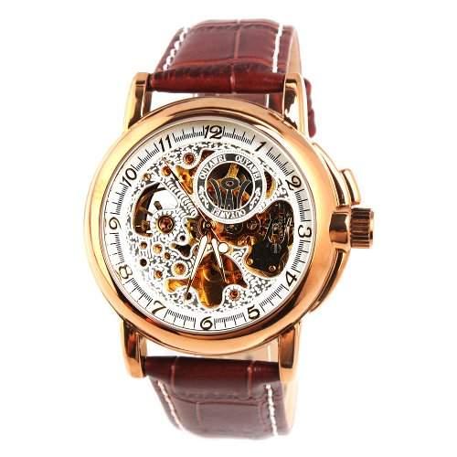 YESURPRISE Automatik Mechanische Uhr Herrenuhr Armbanduhr Leder Automatikuhr Watch braun gold