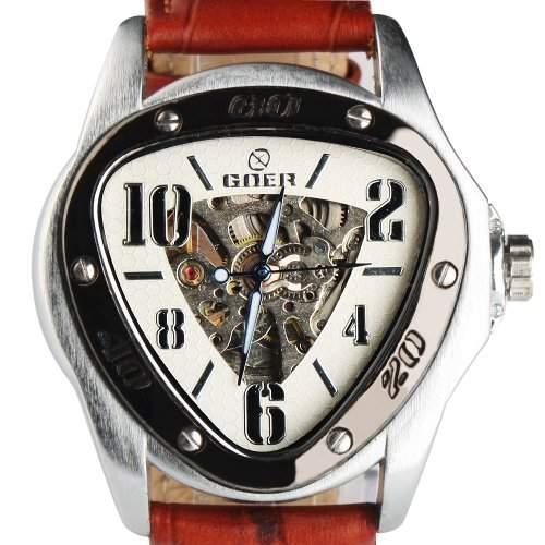 YESURPRISE Leder Skelettuhr Automatikuhr Herrenuhr Automatik Mechanische Uhr Armbanduhr Geschenk Gift Watch