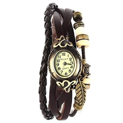 YESURPRISE Uhr Leder Armbanduhr Armreif Damenuhr Lady Quarz Bracelet Beads Watch Geschenk Gift montre de poche B4
