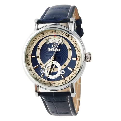 YESURPRISE Leder Automatik Mechanische Automatikuhr Armbanduhr Herrenuhr Datum Skelett blau