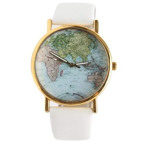YESURPRISE Modisch Welt Landkarte Schwarz Gold Leder Analog Damen Armbanduhr Uhr Watch Geschenk Gift