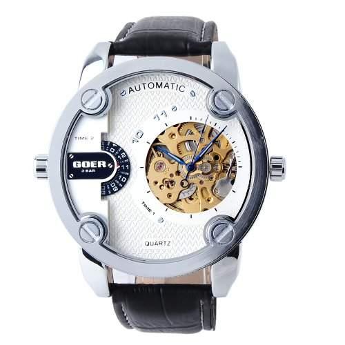 YESURPRISE Automatikuhr Automatik Armbanduhr Skelett mechanische Uhr Leder schwarz weiss