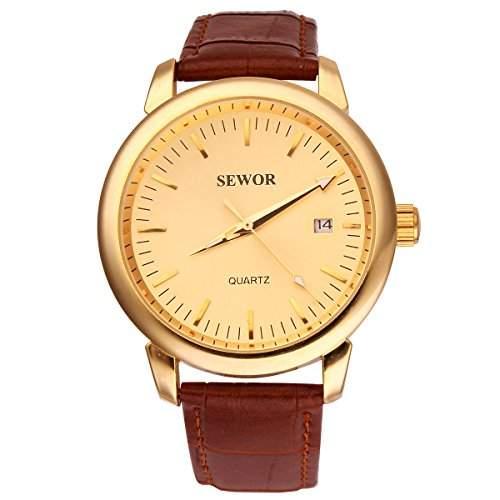 YESURPRISE Automatikuhr Automatik Armbanduhr Skelett mechanische Uhr Leder mit Datum gold braun
