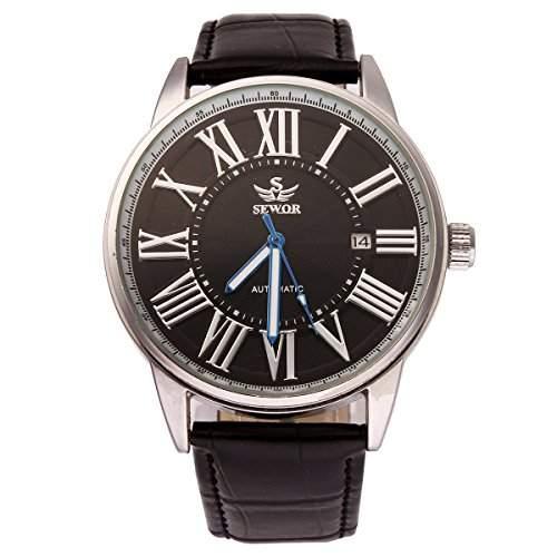 YESURPRISE Automatikuhr Automatik Armbanduhr Skelett mechanische Uhr Leder mit Datum schwarz silber