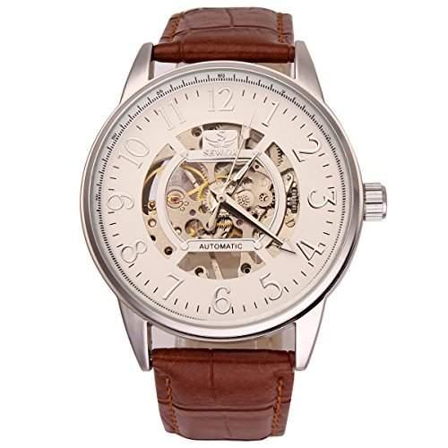YESURPRISE Herrenuhr Leder Mechanische Handaufzugwerk Uhr Armbanduhr Skelett Uhr Geschenk Gift Watch I4