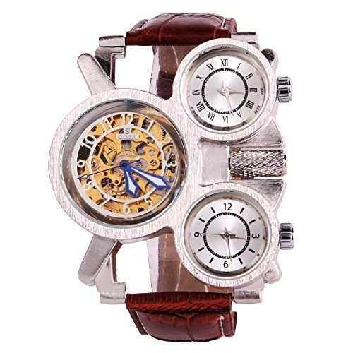 YESURPRISE Uhr Leder Automatik Mechanische Herrenuhr Skelett Armbanduhr Geschenk Etui