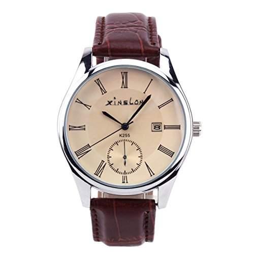 YESURPRISE Uhr KunstLeder Uhr Armbanduhr Herrenuhr Quarz Herren Uhr mit Datum Watch Geschenk Gift