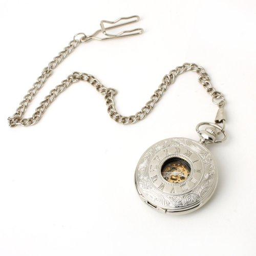 UNIQUEBELLA Retro Handaufzug mechanische Taschenuhr Skelett Uhr Antike Taschenuhr bronze 8