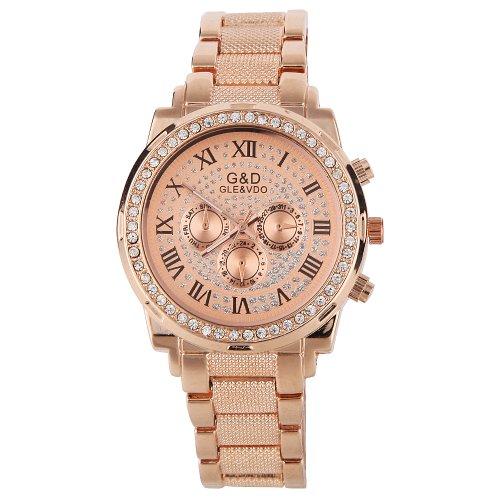 YESURPRISE Uhr rosa gold Armbanduhr mit Strass Legierung Damen und Herrrenuhr Armreif Quarzuhr Wrist Watch