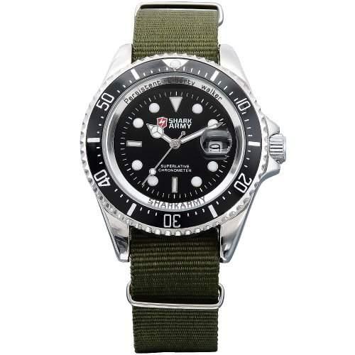 SHARK ARMY Herren Armbanduhr Quarzuhr Army Gruen Armband aus Nylon Datumanzeige SAW014