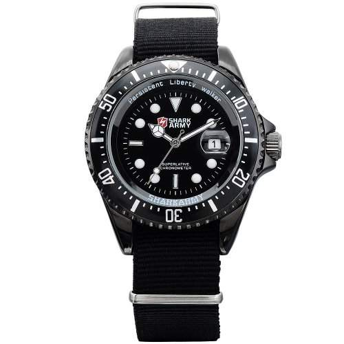 SHARK ARMY Herren Armbanduhr Quarzuhr Schwarze Armband aus Nylon Datumanzeige SAW015