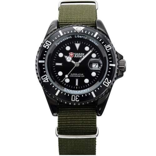SHARK ARMY Herren Armbanduhr Quarzuhr Army Gruen Armband aus Nylon Datumanzeige SAW016