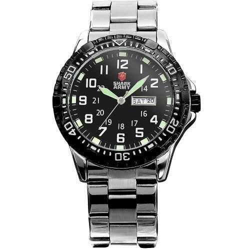 SHARK ARMY Herren Armbanduhr Quarzuhr Silber Armband aus Metall Datumanzeige SAW017