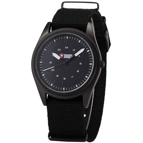 SHARK ARMY Herrenarmbanduhr Analog Quarzuhr Schwarze Armband aus Nylon SAW035