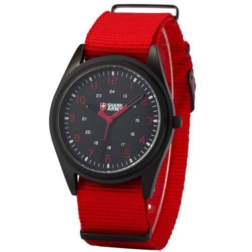 SHARK ARMY Herren Armbanduhr Quarzuhr Rot Armband aus Nylon SAW037