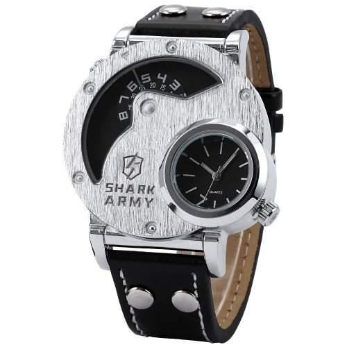 SHARK ARMY Herren Armbanduhr XL Analog Quarzuhr 2 Zeitzonen Schwarze Armband aus Leder SAW053