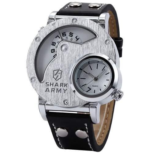 SHARK ARMY Herren Armbanduhr XL Weisse Quarzuhr 2 Zeitzonen Armband aus Leder SAW054