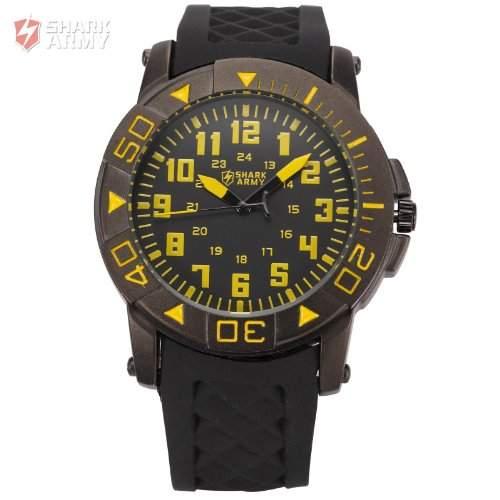 SHARK ARMY Herren Armbanduhr Quarzuhr mit Armband aus Schwarze Gummi SAW075