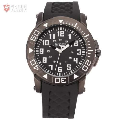 Shark Army Herren Armbanduhr Quarzuhr mit Armband aus Schwarze Gummi SAW077