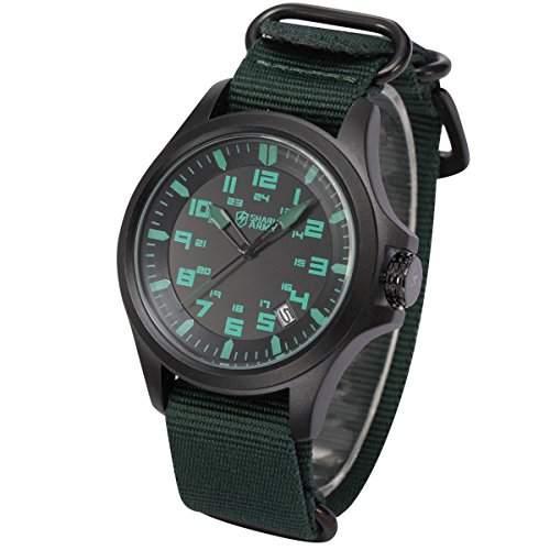 SHARK ARMY Herren Armbanduhr Gruene Armband aus Nylon Datumanzeige SAW085